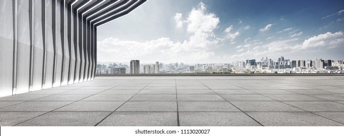 modern building and empty floor with skyline
