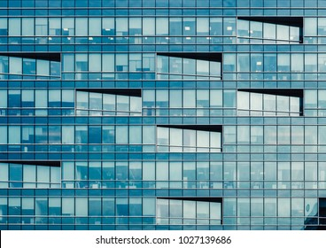 Modern building exterior with copy space. Modern office building with facade of glass.