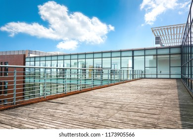 Modern building exterior with terrace