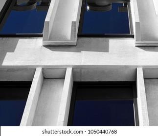 Modern building facade blue windows