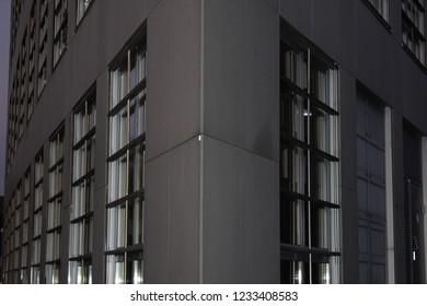 Modern building facade. Sunset.