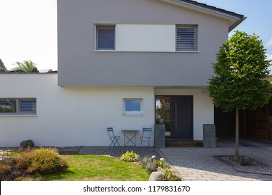 modern building facades and details of village in south german bavaria countryside