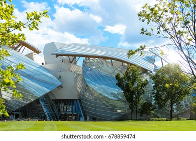 Modern building of Foundation Louis Vuitton, close up, Paris, France, 2015 July 30
