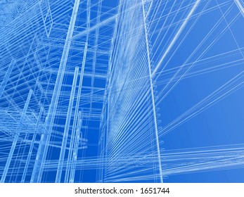 Modern building geometry wire mesh