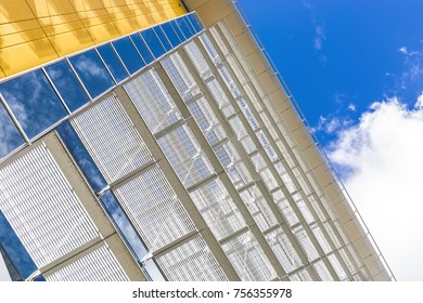 Modern Building with glass and blue sky, copy space