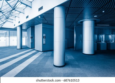 modern building hallway with steel column,blue toned,china.