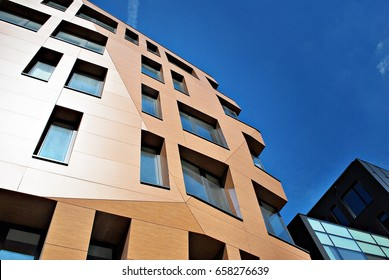 Modern building. Modern office building with facade of glass.