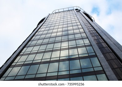 Modern building. Modern office building with facade of glass. Object.
