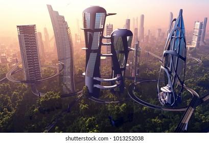 Modern building on a background landscape.3d render