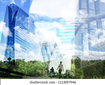 Modern building overlay cloud and tree in forest, Abstract modern architecture replace forest, big city develop replacement concept .