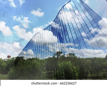 Modern building overlay tree in forest, Abstract modern architecture replace forest, big city develop replacement concept