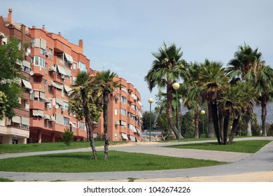 Modern building and palm trees on street resort town Benidorm in summer day. Province of Alicante, Spain.