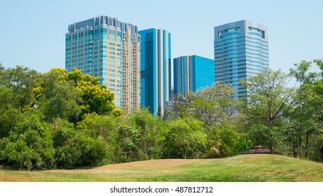 Modern building and public park