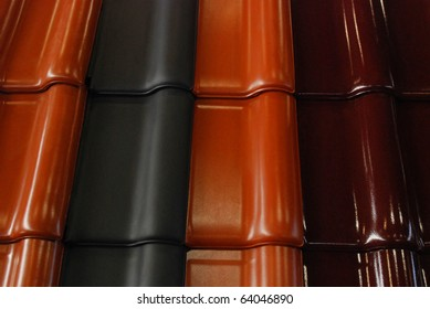 Modern building, roof tile in side view detail.