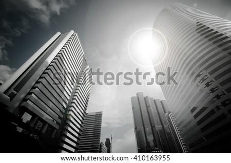 modern building sun flare bangkok city stock photo edit now