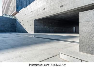 Modern building underground parking lot exit