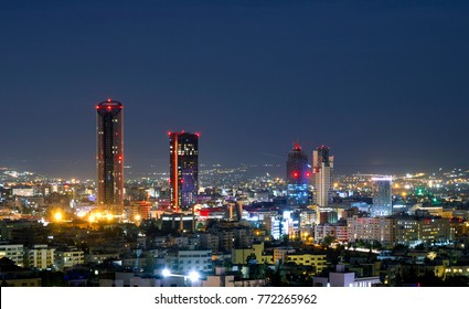 Modern buildings in Abdali area at night - Night shot of the new downtown of Amman