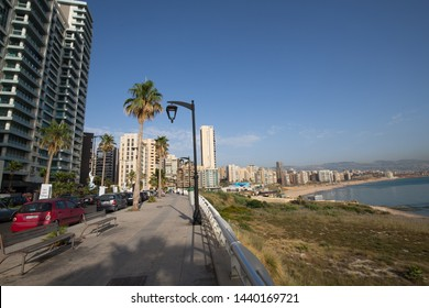 Modern buildings and beach, Corniche Beirut. Beirut. Lebanon - June, 2019