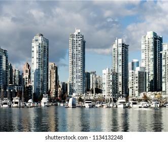 Modern buildings by the sea, False Creek, Vancouver