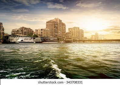 Modern buildings of Cairo on the Nile