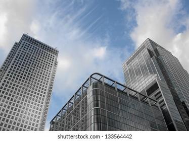 Modern buildings in Canary Wharf, London