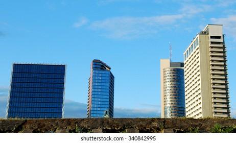 modern buildings in the center of Vilnius near the River.