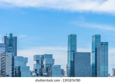 modern buildings complex against sky, shanghai, china.