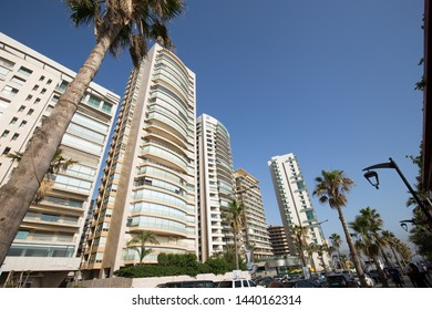 Modern buildings, Corniche Beirut. Beirut. Lebanon - June, 2019