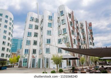 Modern buildings in downtown Dusseldorf, riverbank of the Rhine, North Rhine-Westphalia, Germany, 07-09-2018