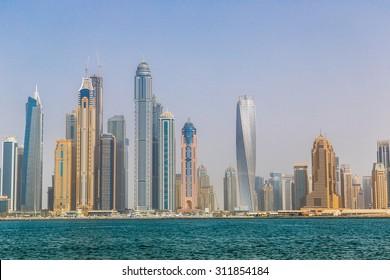 Modern buildings in Dubai Marina, Dubai, UAE in a summer day