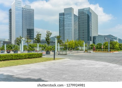 modern buildings and empty pavement in china