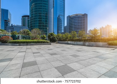 modern buildings and empty pavement in china.