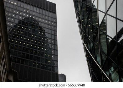 Modern buildings in the hearth of London City. Towers of glass and steel where thousands of people everyday works.