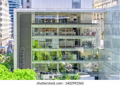 Modern buildings with interior view inside from Terrace 5 restaurant of MoMA museum of modern art in New York city, USA on 18 May 2019