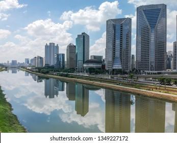 Modern buildings in Marginal Pinheiros river. Sao Paulo, Brazil
