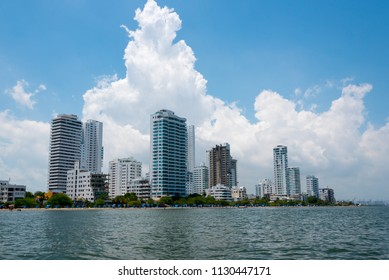 Modern buildings next to the beach in Cartagena. Colombia