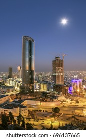 modern buildings at night in the new downtown of Amman city,  jordan