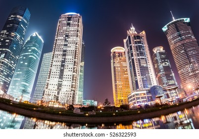 modern buildings panorama at night in shanghai financial and trade zone