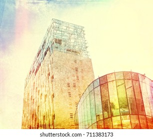 Modern buildings in retro surreal style