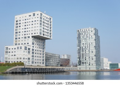 Modern buildings in the skyline of Almere, The Netherlands