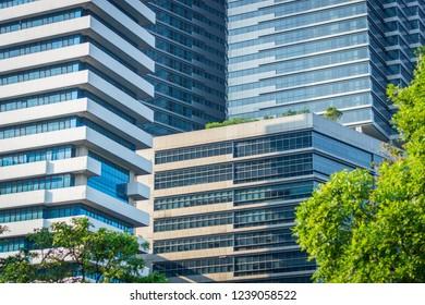Modern buildings in sunny day in Bangkok, Thailand