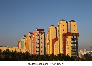 Modern buildings at sunset