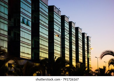 Modern buildings at sunset in Mohammedia Morocco