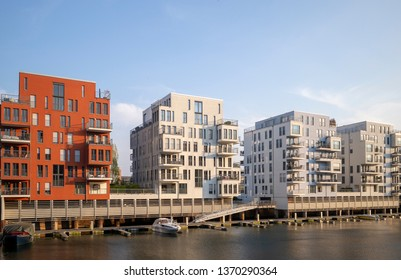 Modern buildings in the Westhafen area in Frankfurt am Main, Germany