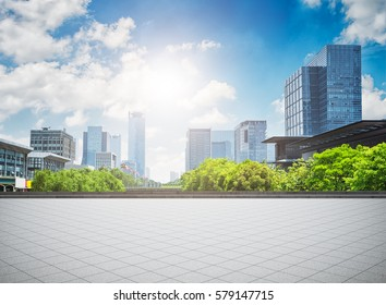 modern business building with glass wall from empty floor