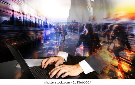 Modern business lifestyle.Man hand holding tablet with automate wireless connection to city background