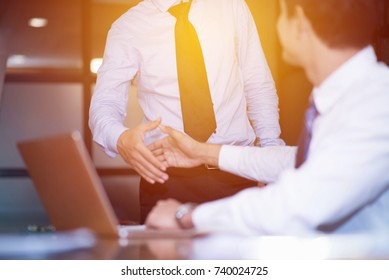 modern business man hand shake for joying teamwork