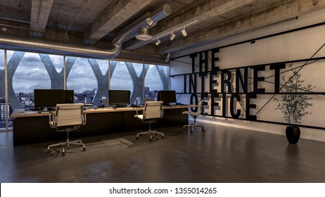 Modern business office interior 3D model in the tall building with wide panoramic windows. Desk with several workplaces in spacious room with indoor plant