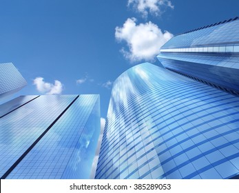 Modern business office skyscrapers, looking up at high-rise buildings in commercial district, architecture raising to the blue sky with white clouds, bottom view