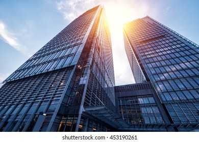 modern business skyscrapers in Shanghai, China